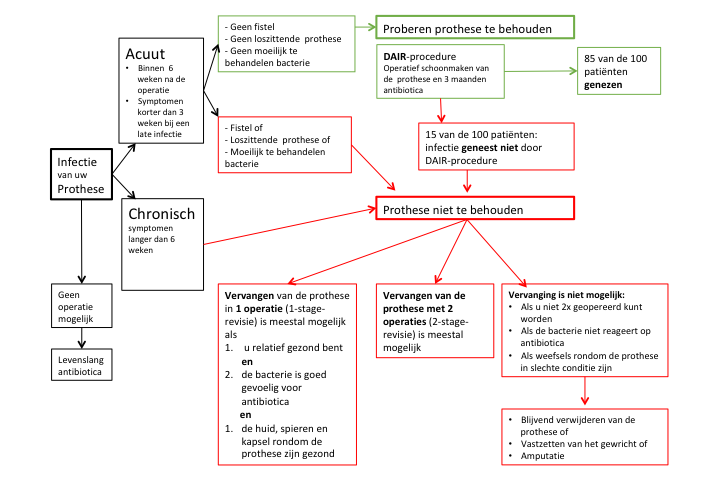 prothese infectie beslisboom mogelijke behandellingen